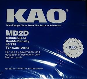 KAO MD2D Double Face 48TPI Floppy Disks Ten 5.25″ Disks