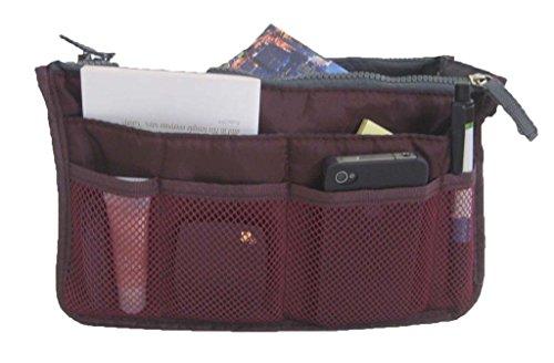 Women Travel Insert Handbag Organiser Purse Large Liner Organizer Tidy Bag-Wine Red
