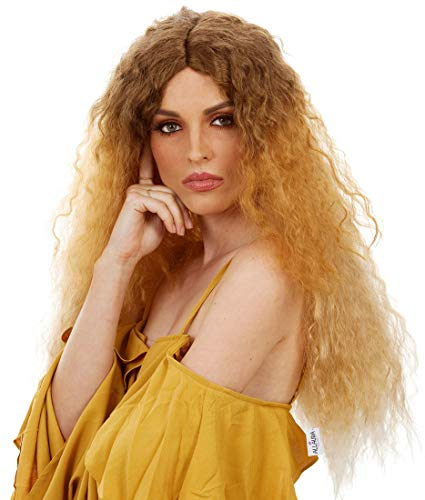 ALLAURA 70s 80s Long Brown Blonde Ombre Curly Perm Wig for Women Cosplay Costume Wigs