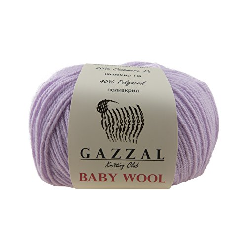 Yarn Pom Pom Baby (5 PACK - Gazzal Baby Wool 1.76 Oz (50g)/218 Yards (200m) Fine Baby Yarn, 40% Lana Merino, 20% Cashmere Type Polyamide; (Lilac Purple - 823))