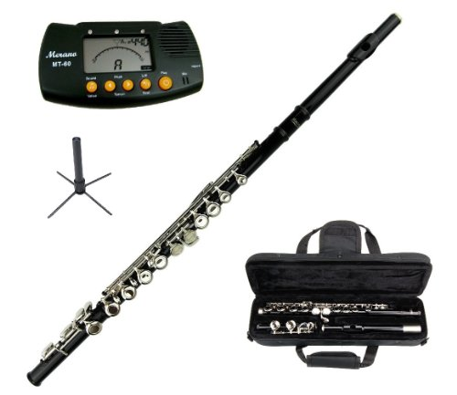 Merano Black Flute with Carrying Case+Metro Tuner+Stand