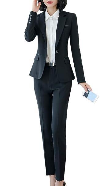 Blazer de Dos Piezas para Mujer, Traje de Trabajo de Corte ...