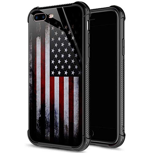 iPhone SE 2020 Case,Tempered Glass iPhone 8 Case for Boys Men,Red Old Flag iPhone 7 Cases Shockproof Anti-Scratch Case for Apple iPhone 7/8/SE2 4.7 inch Old Flag