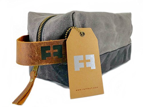 the DOPP KIT | waxed cotton canvas toiletry bag with leather handle (Cloud) by FAT FELT (Image #1)