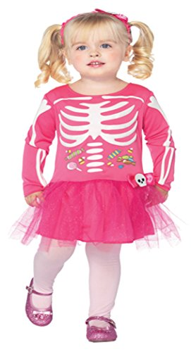 [Girls Candy Skeleton Kids Child Fancy Dress Party Halloween Costume, 3T-4T] (Comical Fancy Dress Costumes)