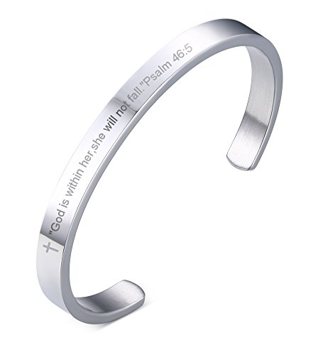 Bible Verse Scripture God is Within Her She Will Not Fall Psalm 46:5 Cuff Bangle Bracelet for Women Girl