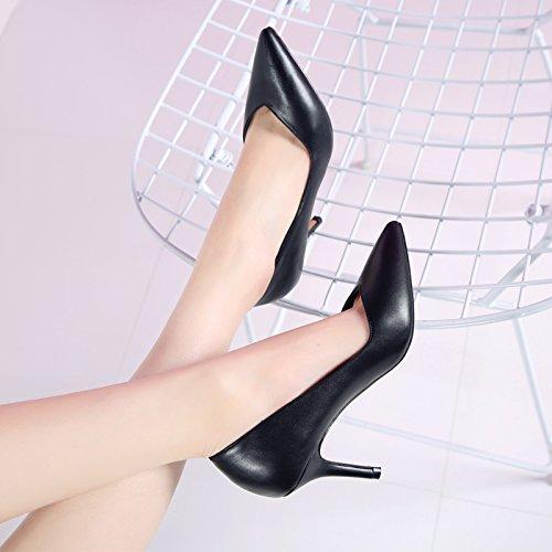 Shoes Wild Shoes Simple Elegant Heeled Port Followed Work Lady Women Spring Tip Workplace Fine 8Cm Light High Single MDRW Shoes Leisure Work Shoes Black vTpCyqvw