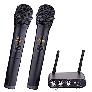 dual channel wireless microphone xg win uhf wireless microphone system with 2. Black Bedroom Furniture Sets. Home Design Ideas