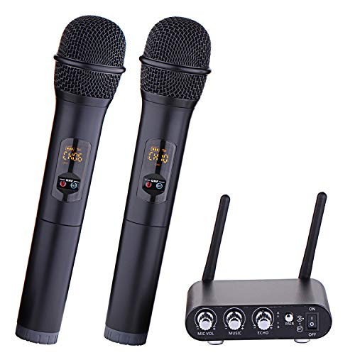 Dual Channel Wireless Microphone, XG-WIN UHF Wireless Microphone System with 2 Handheld Mics and Mixer Receiver Base, for Family Party, Church, Small Karaoke Night
