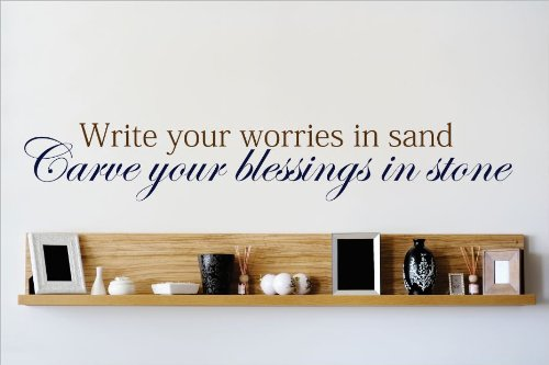 Design with Vinyl OMG 592 As Seen Write Your Worries In Sand Carve Your Blessings In Stone Quote Lettering Decal Home Decor Kitchen Living Room Bathroom, 10x40-Inch, As Seen by Design with Vinyl B00J64F8AS