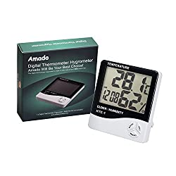 Digital Thermometer Hygrometer, Amado Digital Wall Thermometer Sensor and Humidity Monitor with LCD Light Night Outdoor Indoor Thermometer Clock Display