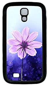 Galaxy S4 Case, Personalized Protective Soft Rubber TPU Black Edge Purple Flower Case Cover for Samsung Galaxy S4 I9500