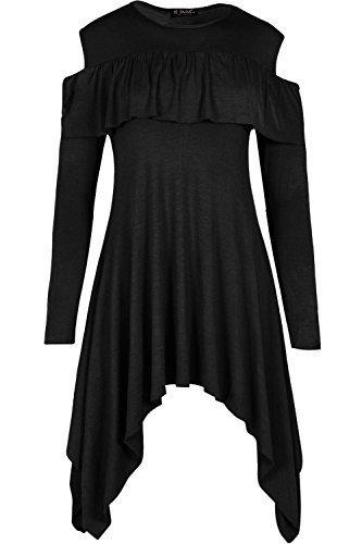 Be Jealous femmes Péplum devant à volants SWING manches longues col rond mouchoir ourlet robe haut UK taille 8-26 - Noir, Plus Size (UK 16/18)