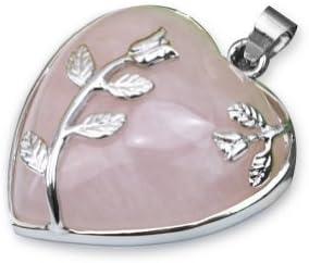 Huyizhi DIY Rosa Cuarzo corazón de Piedras Preciosas Adornos de Flores de Jade Colgante de joyería Que Hace los Accesorios para Las Mujeres