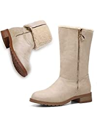 Winter Boots for Women Stylish Fold Suede Closed Toe Mid-Calf Zipper High Snow Boots