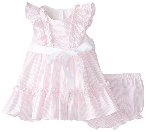 Laura Ashley London Baby-Girls Newborn Ruffled Seersucker Dress, Pink, 6-9 Months