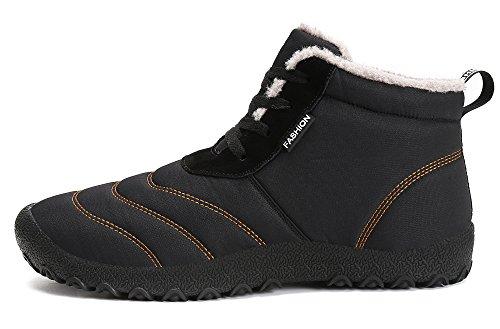 Stivali Stivaletti KOUDYEN Neve Uomo Nero Pelliccia Stringate Caldo Scarpe Donna Boots Caviglia Invernali wYrwF