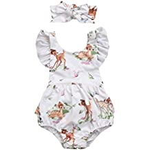 Woaills 3-18M Girls Hot Sale Deer Romper Headband,Toddler Infant Baby Outfit Clothes (6M, Beige)