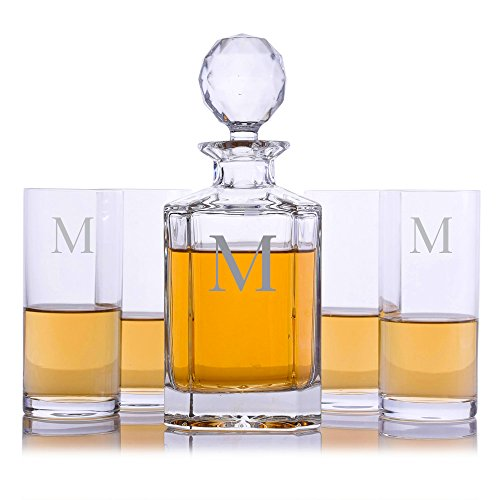 Personalized Crystalize Crystal Whiskey Liquor Decanter and 4 Crystal Highball Cocktail Glasses Engraved & Monogrammed - Great Gift for Father's Day, Weddings and Groomsmen