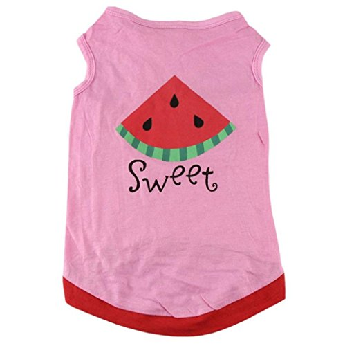 Puppy Shirt, OOEOO Hot Summer Cute Pet Dog Cat Clothes Watermelon Printed Costume Vest (Pink, M) by OOEOO Pet Clothes (Image #4)