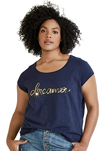 (Ellos Women's Plus Size Embellished Scoop Neck Tee - Navy Dreamer, 18/20)