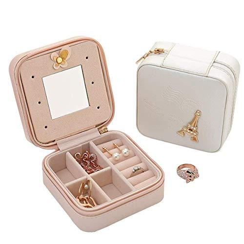 Csinos Travel Jewelry Organizer, Portable Travel Jewelry Box PU Leather Ring Holder Travel Jewelry Box with Zipper (Tower)