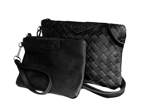 La Loria femmes XXL poches Parure 3 Pièces Weave Sac à bandoulière tressé les femmes sac à main en coleur gris Noir