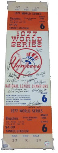 1977 New York Yankees Autographed 1977 World Series Game 6 Mega Ticket (MAB - 77NYYMT4) 1977 World Series Game 6