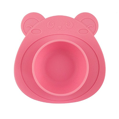 URSMART One-piece Baby Placemat Bowl-Highchair Feeding Tray Round Suction plate for Kids Toddlers Kitchen Dining Table with Built in Bowl, Weaning travel Bowl for Children ()