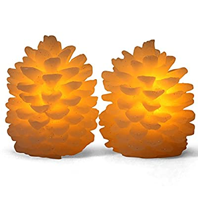 Premium Flameless Candles By Vinkor - LED Light Pillar Wax Candles - Pine Cone Shape Holiday Design - Ideal For Ambient & Romantic Atmosphere - Set of 2 Batteries Included