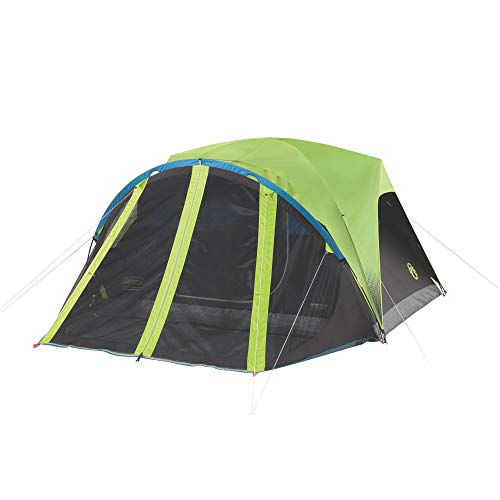 Coleman Carlsbad 4' x 7' Dark Room Screen Dome Camping 4 Person Tent with Screen Room Bundle with 30 Degree Camping Sleeping Bag for Kids and Adults (Carlsbad 4 Person Dome Tent With Screen Room)