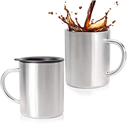 105bbae6e62 Stainless Steel Coffee Mug Set Of 2 - Double Wall Insulated Coffee Mug With  Lid - Shatterpoof Thermal Coffee Mugs - Perfect Travel Cups For Hot & Cold  ...