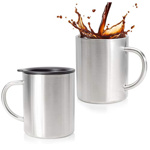 Stainless Steel Coffee Mug Set Of 2 - Double Wall Insulated Coffee Mug With Lid - Shatterpoof Thermal Coffee Mugs - Perfect Travel Cups For Hot & Cold Drinks