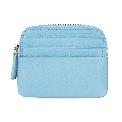 ZORESS women's RFID blocking leather coin purse Zip small wallet mini card holder (Blue)