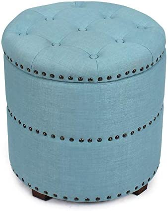 Decent Home 18 inch Round Fabric Storage Ottoman Upholstered