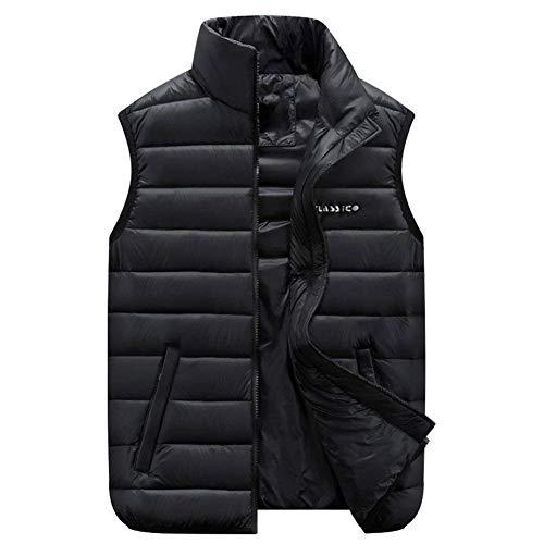 Schwarz Waistcoat Outerwear Collar Comfortable Size Mens Zipper Vest Pockets Side with Stand Battercake Coat Waisted Plus Vest Down fATgT4wxq