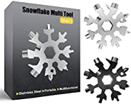 Snowflake Multitool,2PCS Black and Silver 18-in-1 Snowflake Standard Multi Tool, Stainless Steel Snowflake Wre