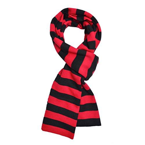 TrendsBlue Premium Soft Knit Striped Scarf, Red & Black