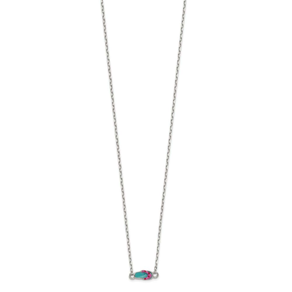 Sterling Silver Teal /& Pink Enameled Flip-flop with 2in Extender Pendant Necklace