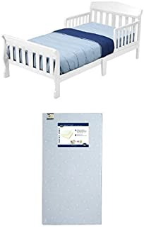 Delta Children Canton Toddler Bed, White with Serta Perfect Start Crib and Toddler Mattress