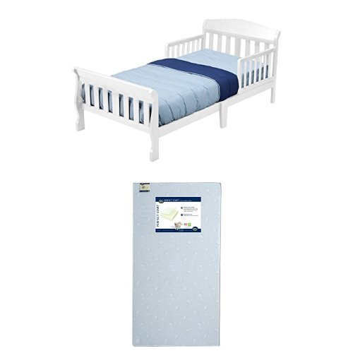 Delta Children Canton Toddler Bed, White with Serta Perfect Start Crib and Toddler Mattress by Serta