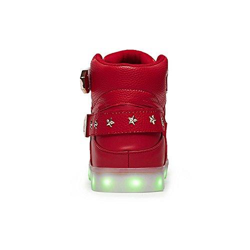 Joansam Ledde Skor Höga Bästa Män Och Kvinnor Lyser Skor Usb-laddning Av Metall Kardborrband Blinkande Sneakers Red2