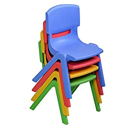 Costzon Set of 4 Kids Plastic Chairs Stackable Play and Learn Furniture Colorful New