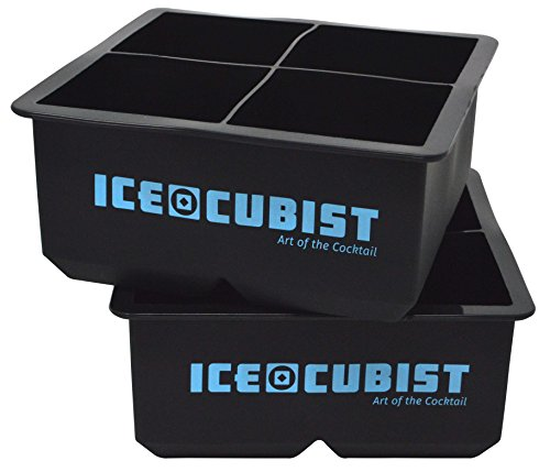 Giant Square 2.5 Inch Whiskey Ice Cube Freezer Trays - Double Extra Large Ice Cubes - 2 Tray Pack, 4 Cubes Per Tray - Makes 8 Giant 2.5 Inch Ice Cubes, BPA Free