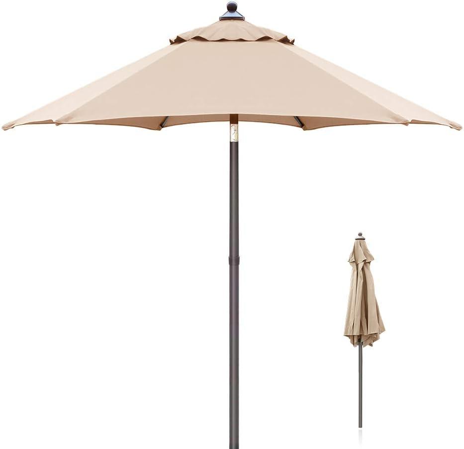 Taupe Ziigo Ombrellone da Giardino ombrellone con meccanismo di inclinazione e Protezione Solare UV50+