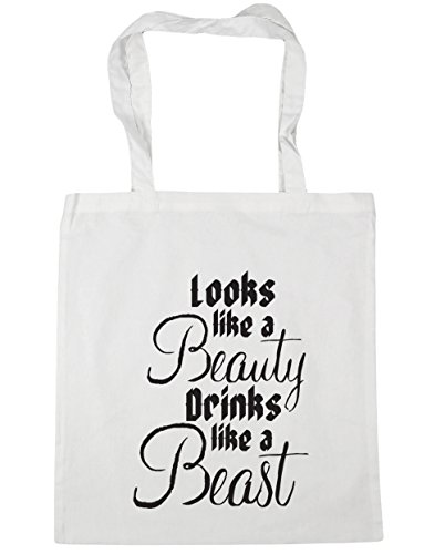 x38cm drinks litres like beauty beast Beach 42cm HippoWarehouse Shopping Gym Tote Looks Bag a 10 like a White q6wIgxH