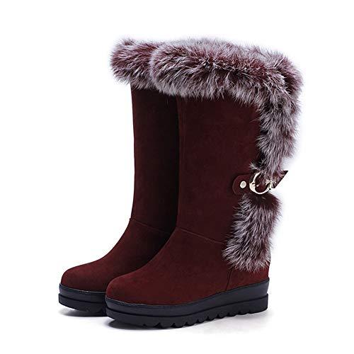 DETAIWIN Womens Mid Calf Snow Boots Warm Plush Platform Increased Height Non Slip Handmade Suede Winter Boots