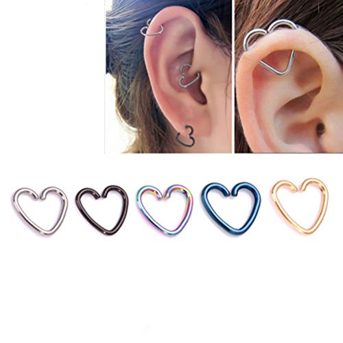 Distinct 5pcs Stainless Steel Heart Shaped Lip Ear Nose Ring Body Piercing Studs Different Colors