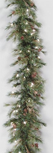 Vickerman Pre-Lit Mixed Country Pine Garland with 70 Clear Dura-Lit Lights, 6-Feet, Green