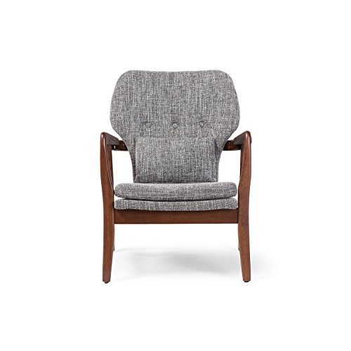 Baxton Studio Wholesale Interiors Rundell Mid-Century Modern Retro Fabric Upholstered Leisure Accent Chair in Walnut Wood Frame, Large, Grey